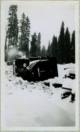 Overturned Truck in Snow
