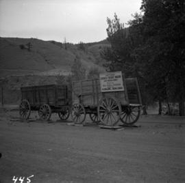 Two horse drawn freight wagons at Cache Creek