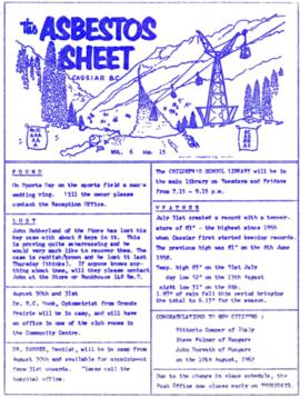 The Asbestos Sheet Aug. 1962