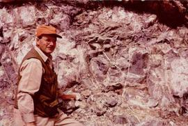 Bill Plumb at Excavated Wall, Clinton Creek, YT