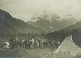 Survey crew and horses at camp, Mt. Robson, BC