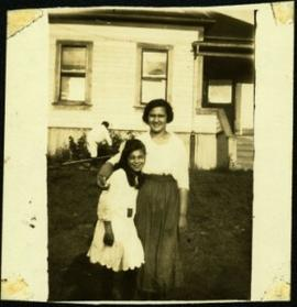 Young Virginia & Violet Taylor in Front Yard