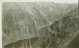 Landscape perspective of river running through a steep valley