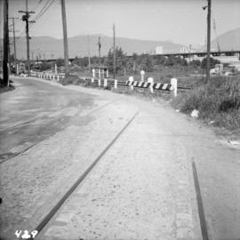 Former tram tracks in Vancouver, BC