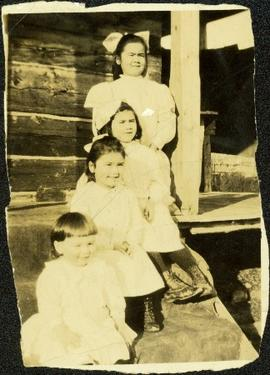 Four Oldest Taylor Children Sitting on Steps