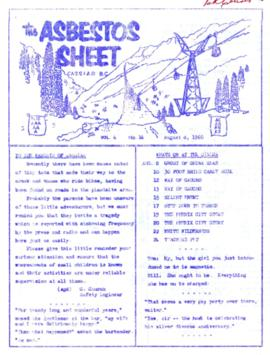 The Asbestos Sheet Aug. 1960