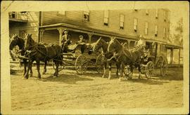 Two Teams of Horses Pulling Wagon and Buggy