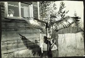 Bob Baxter with Eagle and Two Young Sons