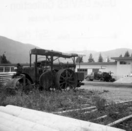 Road roller in work yards of North Cowichan District Municipality