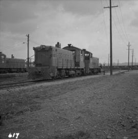 Three B.C. Electric Railway locomotives on running line at New Westminster