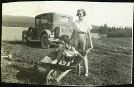 Young Alan and Fred Baxter Being Pushed in Wheelbarrow