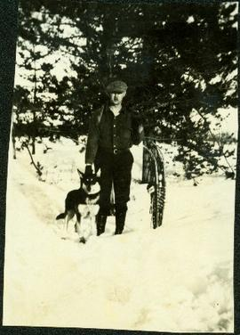 Percy Garland & Husky at Summit Lake in Winter