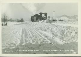 Plowing ice in the CN Railway yard in Prince George due to the Nechako River flood