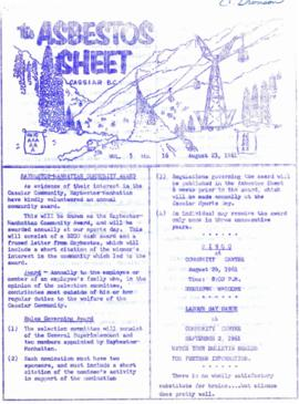The Asbestos Sheet Aug. 1961
