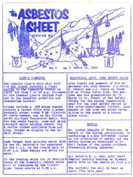 The Asbestos Sheet Mar. 1965