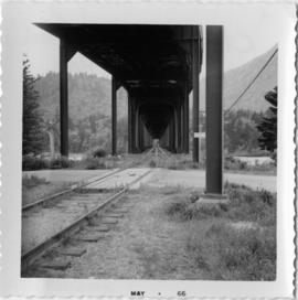 CPR rail with overhead road bridge in Hope