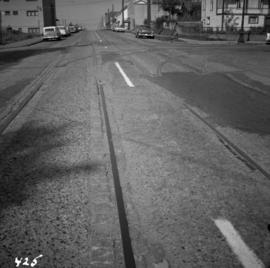 Former tram tracks in east Vancouver, BC