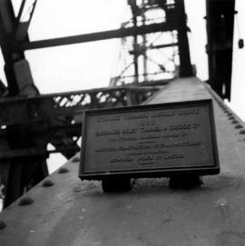 Plaque attached to Second Narrows Bridge in Vancouver, BC