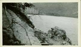 Close up view of a portion of the CNR line that is disappearing along the Skeena River