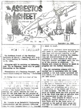 The Asbestos Sheet Sept. 1966