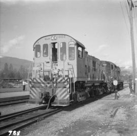 Two Pacific Great Eastern locomotives at the North Vancouver depot