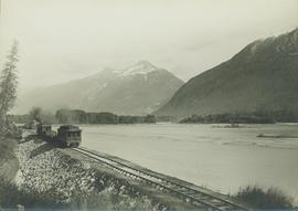 Skeena riverside view of inspection train on a skeleton track pulling the business car of General...