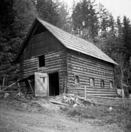 Log barn beside Shuswap Lake