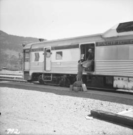Pacific Great Eastern two-car Budd unit at Pemberton