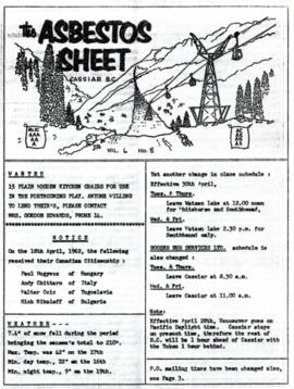 The Asbestos Sheet Apr. 1962