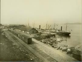 Prince Rupert docks featuring the Grand Trunk Pacific Railroad line