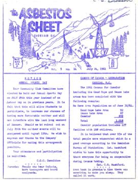 The Asbestos Sheet July 1961