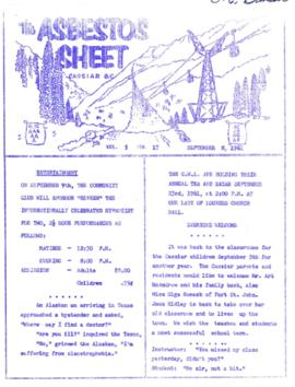 The Asbestos Sheet Sept. 1961