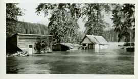 Flooded buildings at the Pacific Station on the Skeena River