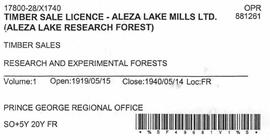 Timber Sale Licence - Aleza Lake Mills (X1740)
