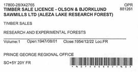 Timber Sale Licence - Olson and Bjorklund Sawmills Ltd (X42765)