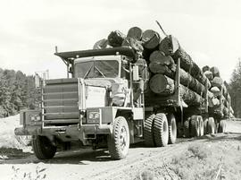 Double trailer delivering log load