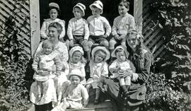 Grandchildren of Marion and W.H. Collison posing at Kincolith, BC