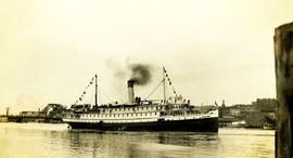 Princess Royal steamship in Victoria Harbour with soldiers onboard