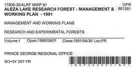 Aleza Lake Research Forest - Management and Working Plan - 1991