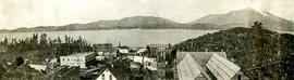 View of Prince Rupert from above, featuring church building in foreground
