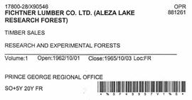 Timber Sale Licence - Fichtner Lumber Company Limited (X90546)