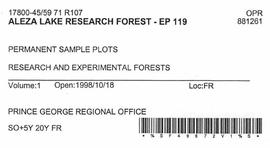 Aleza Lake Research Forest - Growth & Yield 59-71-R 97 - Experimental Plot 119