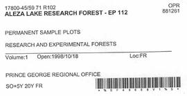 Aleza Lake Research Forest - Growth & Yield 59-71-R 102 - Experimental Plot 112