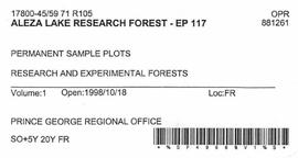 Aleza Lake Research Forest - Growth & Yield 59-71-R 97 - Experimental Plot 117