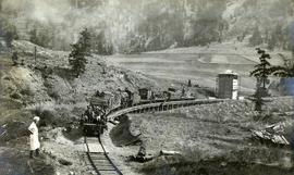Pacific Great Eastern Railway work train on Pavilion Creek trestle