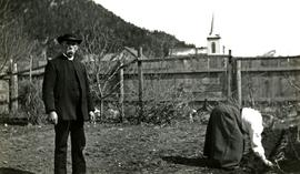 Marion and W.H. Collison in garden at Kincolith, BC