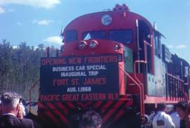 Opening of Pacific Great Eastern Railway (PGE) Line in Fort St James with Premier Bennett