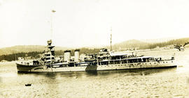H.M.S. Delhi light cruiser warship with 1924 Special Service Squadron