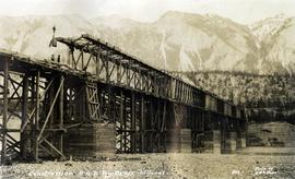 Construction of P.G.E. Railway Bridge, Lillooet, BC