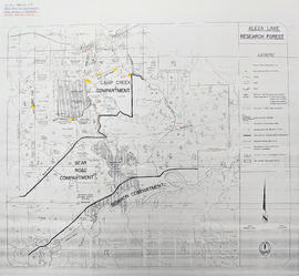Aleza Lake Research Forest [annotated to show graded roads and parking lots]